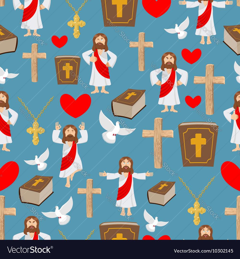 Biblical seamless pattern Jesus and Bible Cross vector image