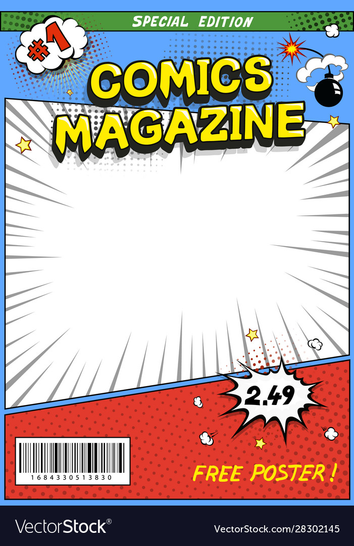 Comic book cover comics magazine template