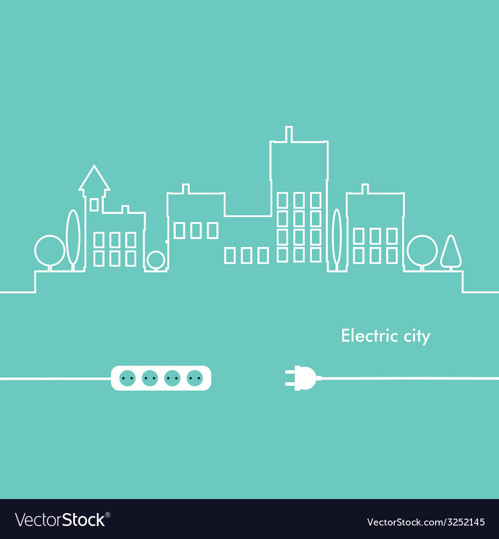 Concept Electric Circuit City Flat Design Vector Image On Vectorstock Pictures