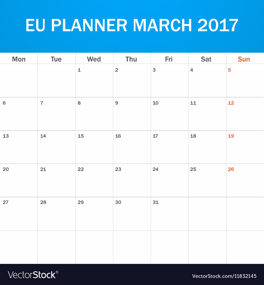 eu planner blank for march 2017 scheduler agenda vector image