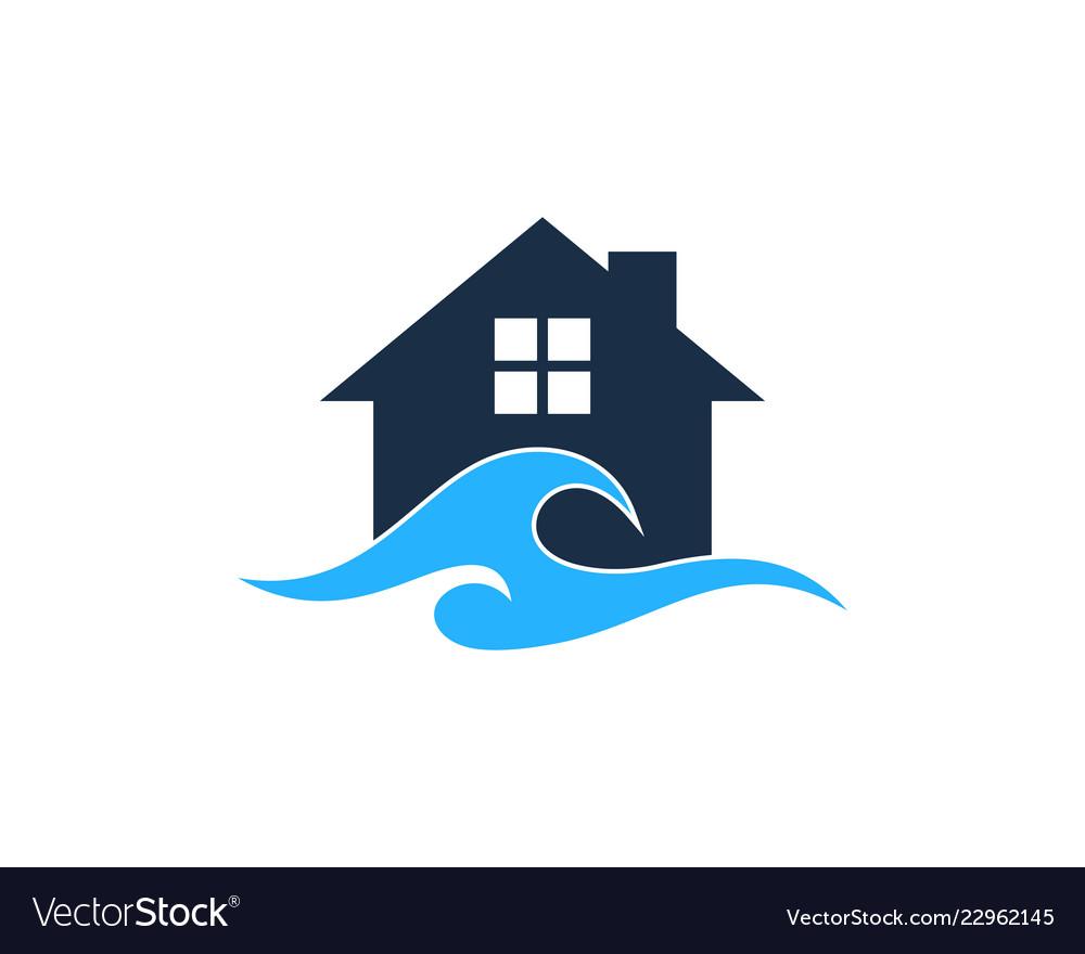 Home wave logo icon design
