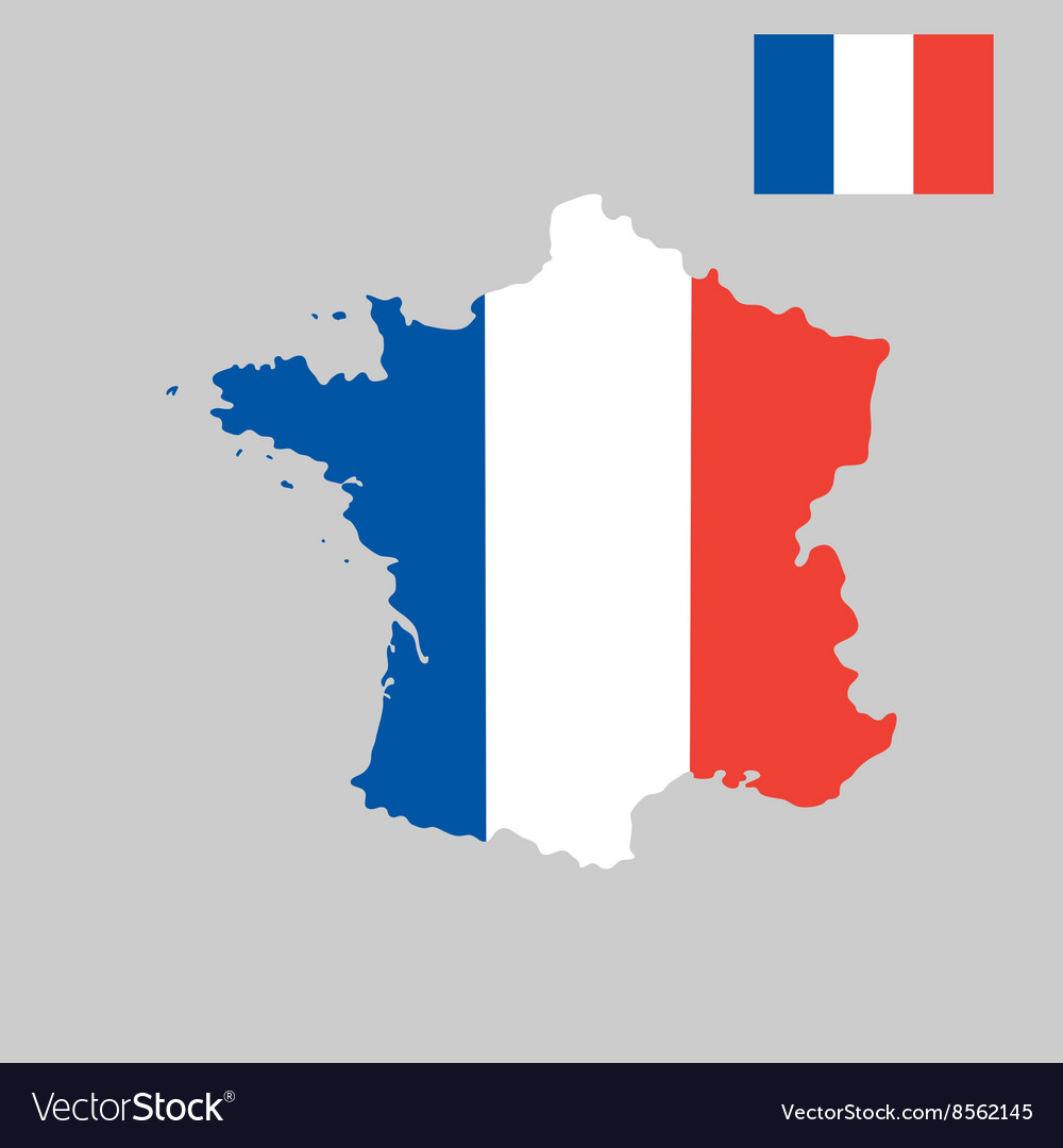 Map Of France In French Flag Colors Style Vector Image - Map of france in french