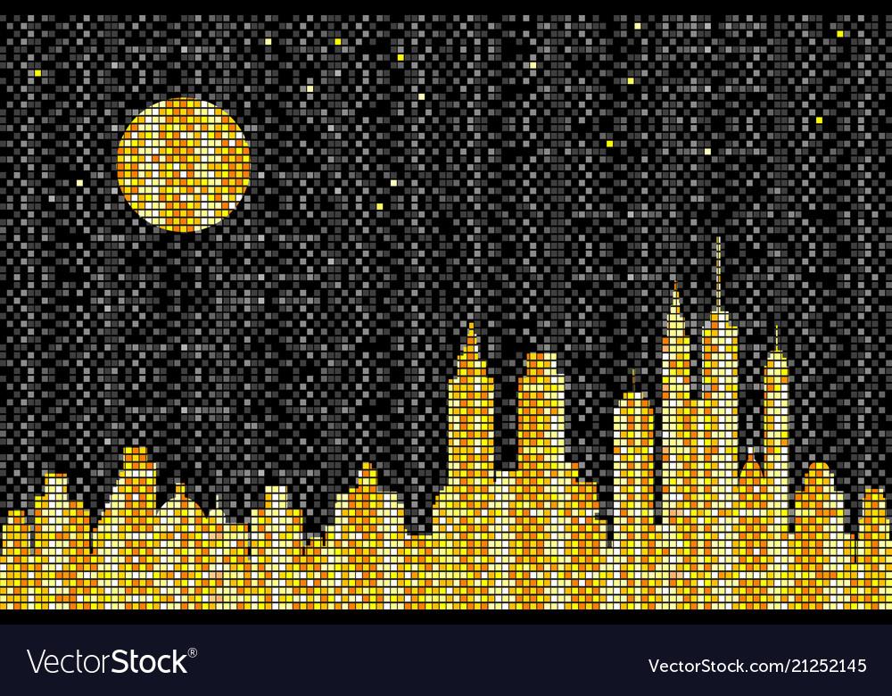 Mosaic skyline at night