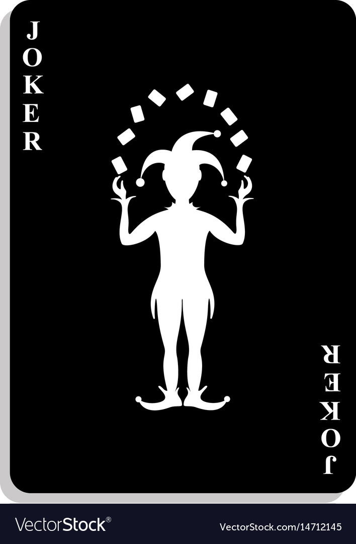 Playing card joker in black and white design vector image