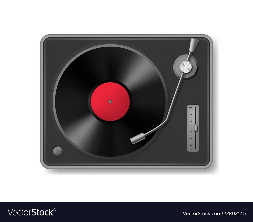 Realistic 3d detailed retro vinil record player