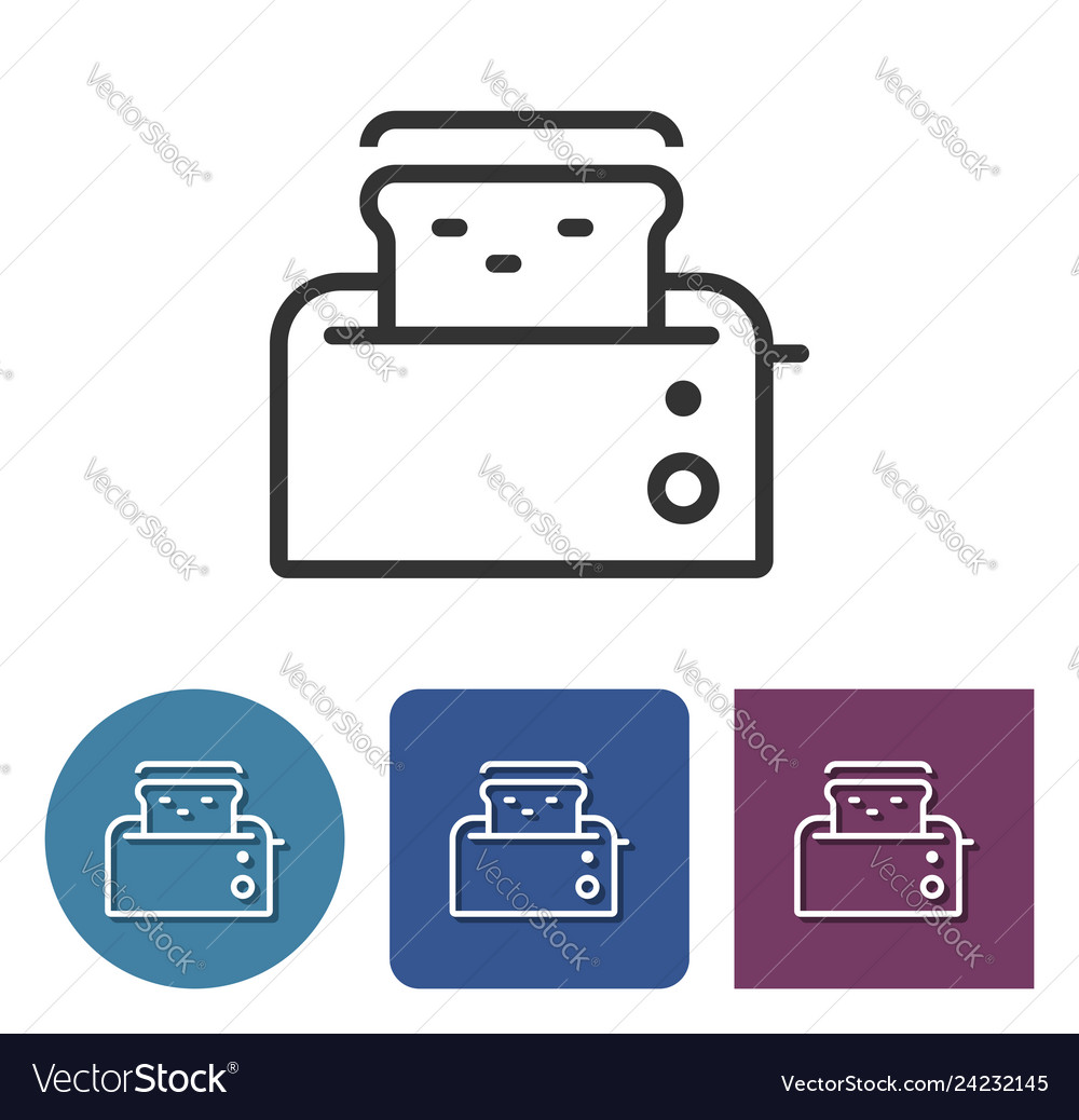Toaster line icon in different variants