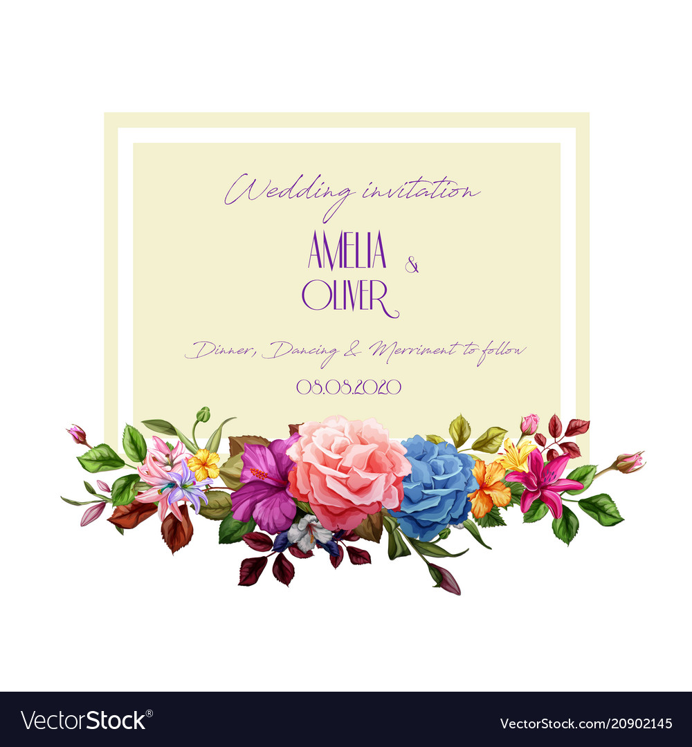 Watercolor lily rose flower wedding card