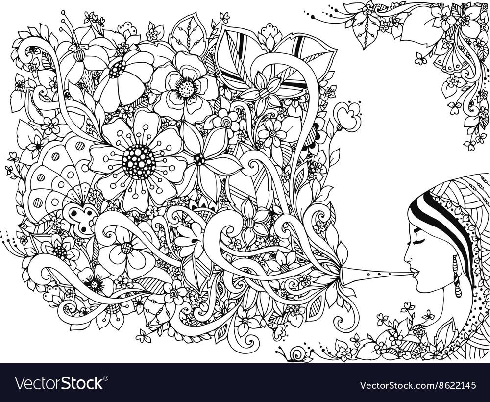 Zentangl woman girl flute vector image