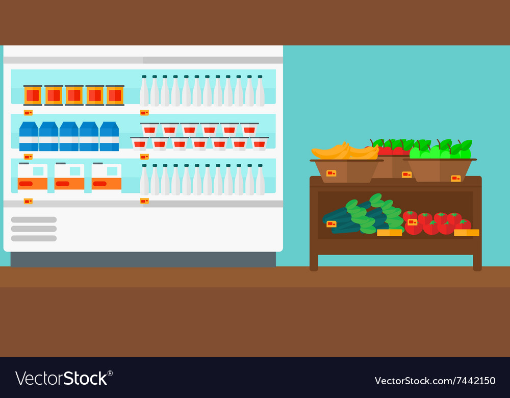 Background of supermarket shelves