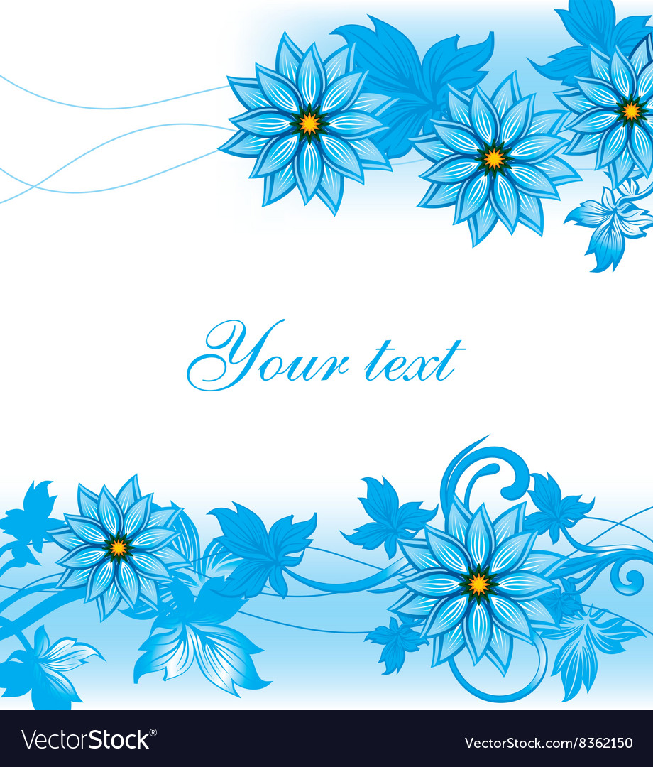Blue Floral Background With Text Space Royalty Free Vector
