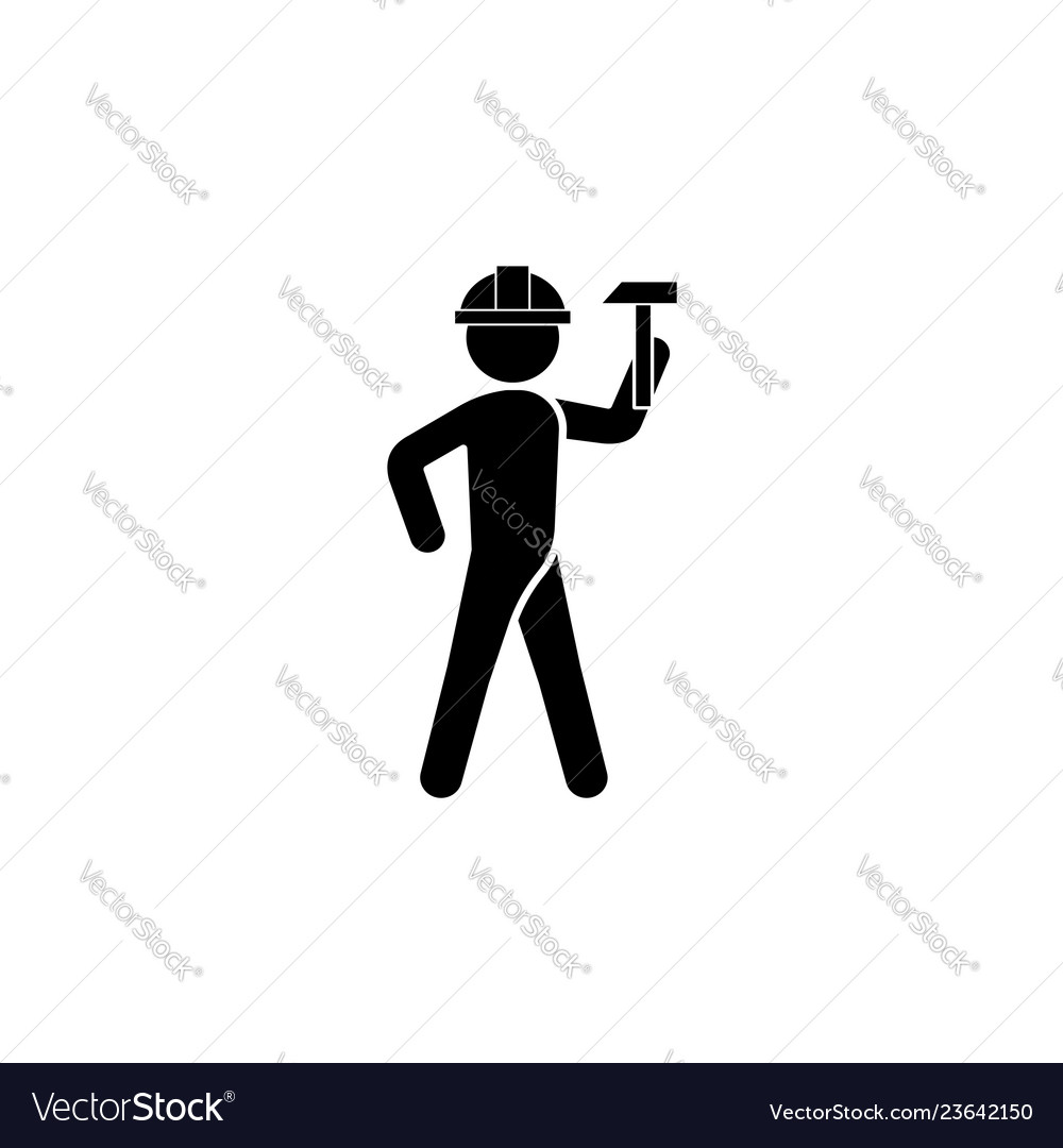 Builder in a helmet with a hammer icon