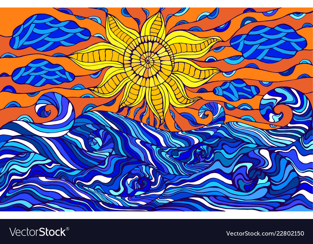 Colorful doodle sun clouds and ocean waves