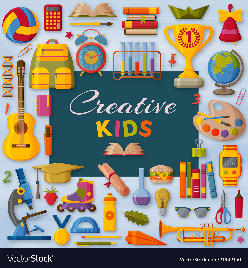 Creative kids background with 3d paper cut signs