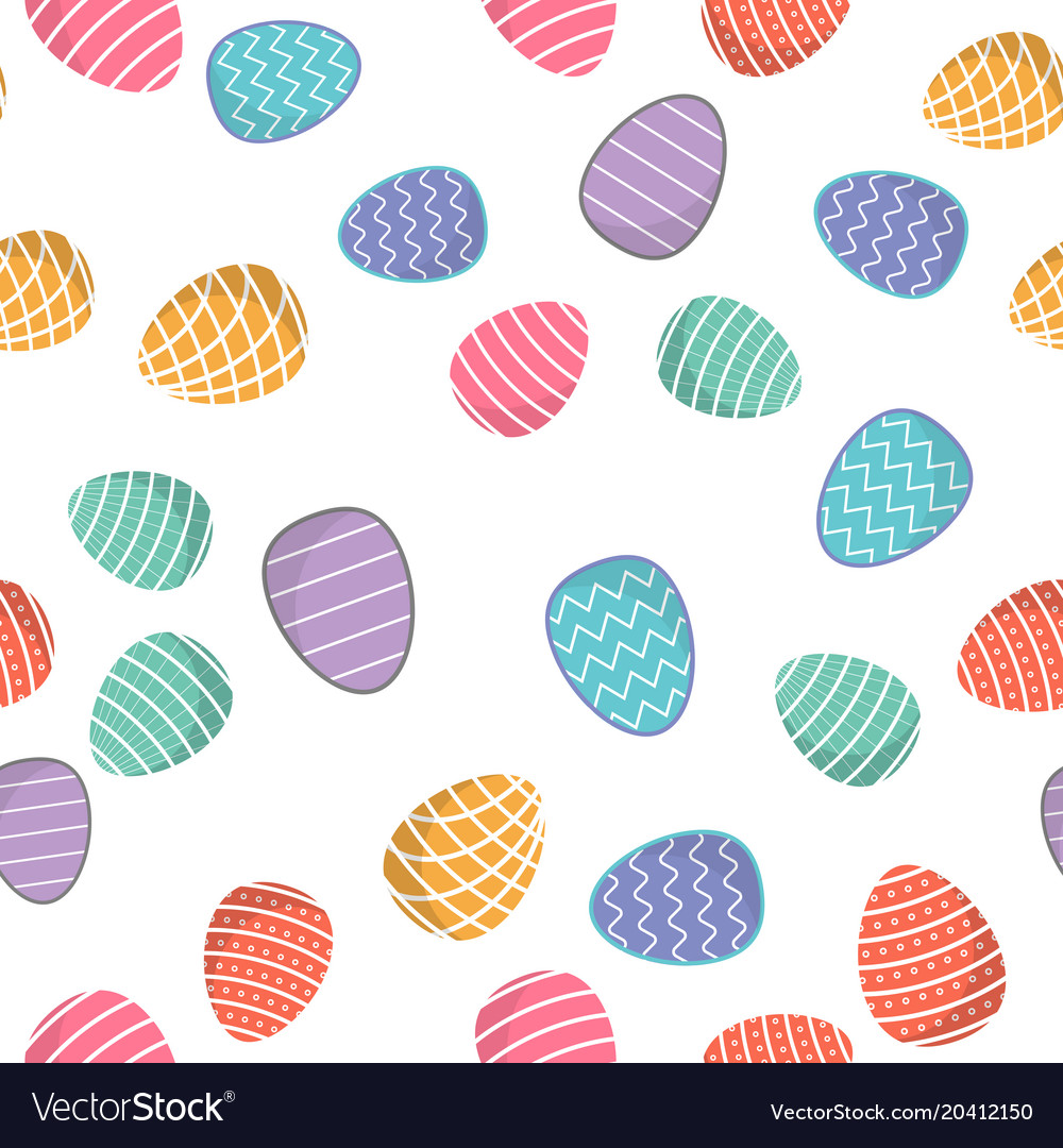 Easter seamless pattern colored eggs with