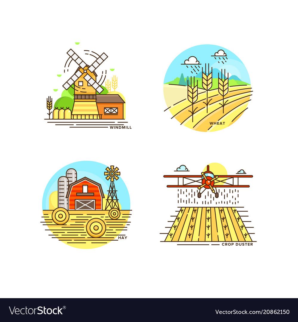 Farming logo collection in line design farm vector image