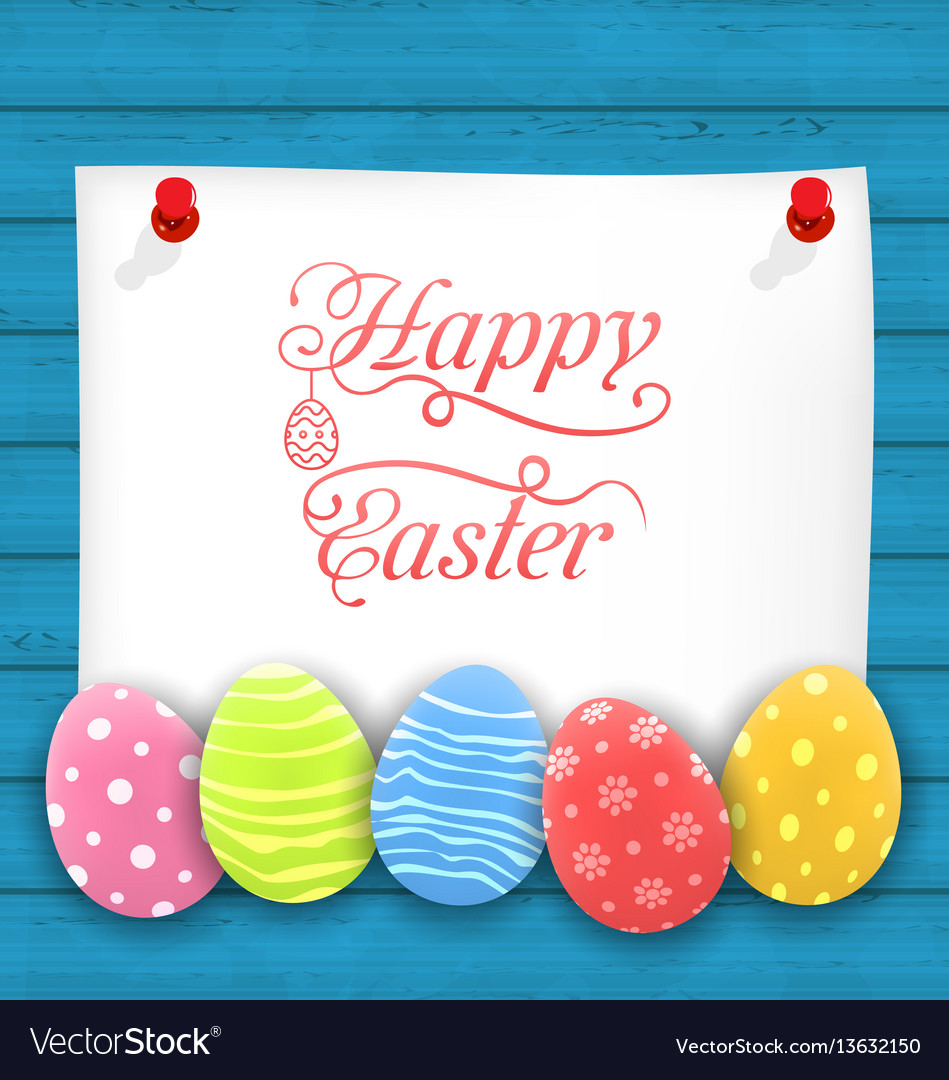 Greeting paper card with easter ornamental eggs
