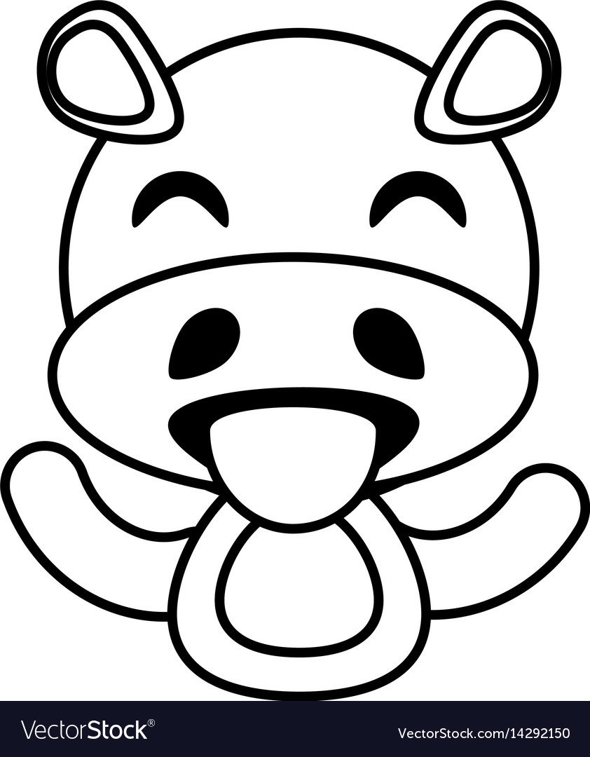 Hippo animal toy outline
