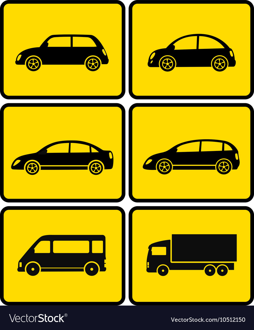Isolated cars on buttons vector image