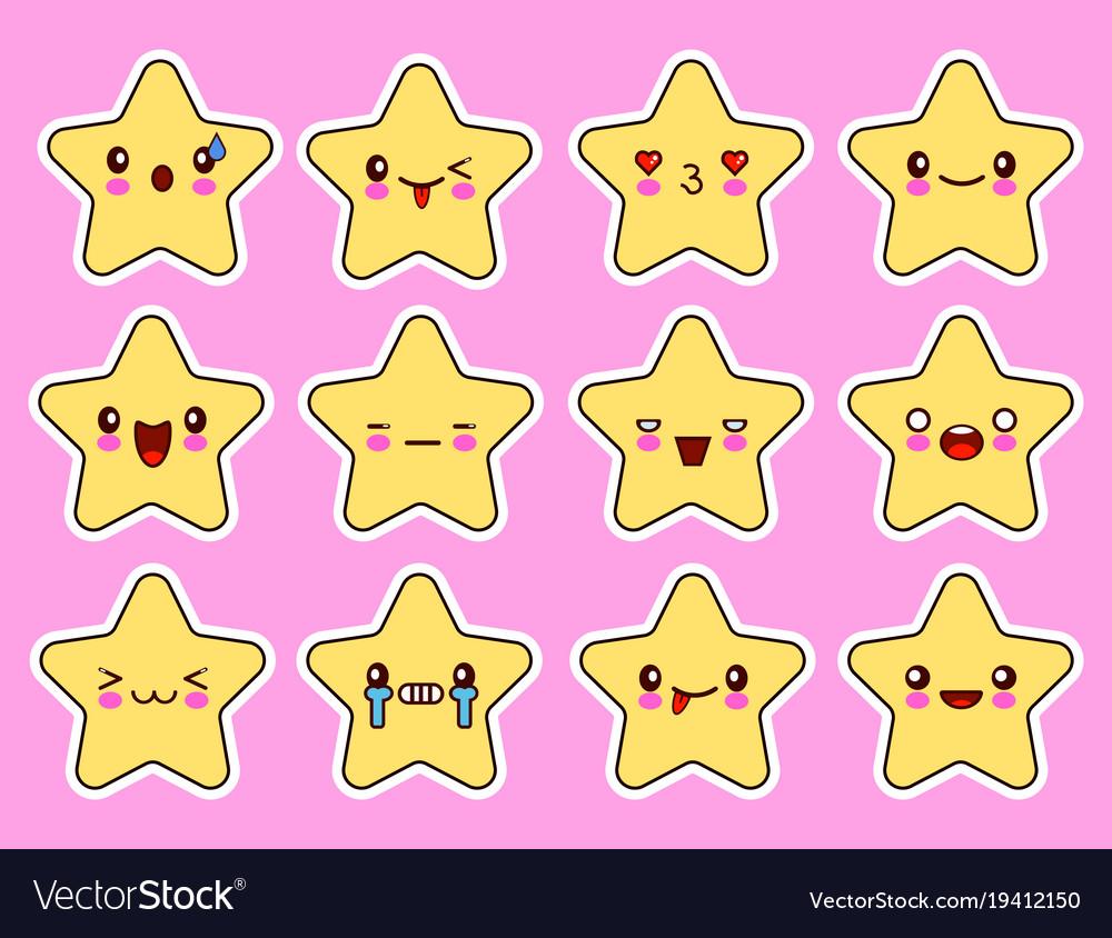Kawaii stars cartoon character set face with eyes vector image