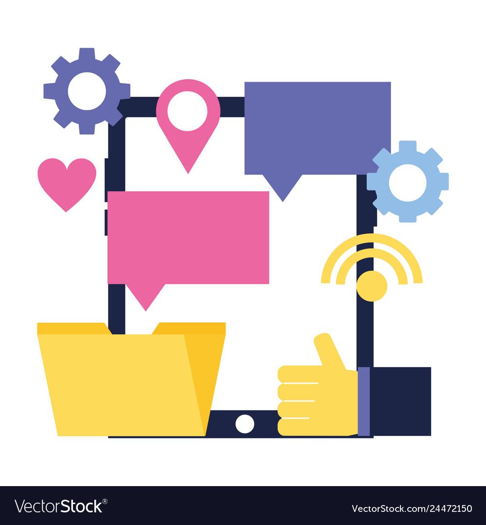 Mobile hand like email chat social media