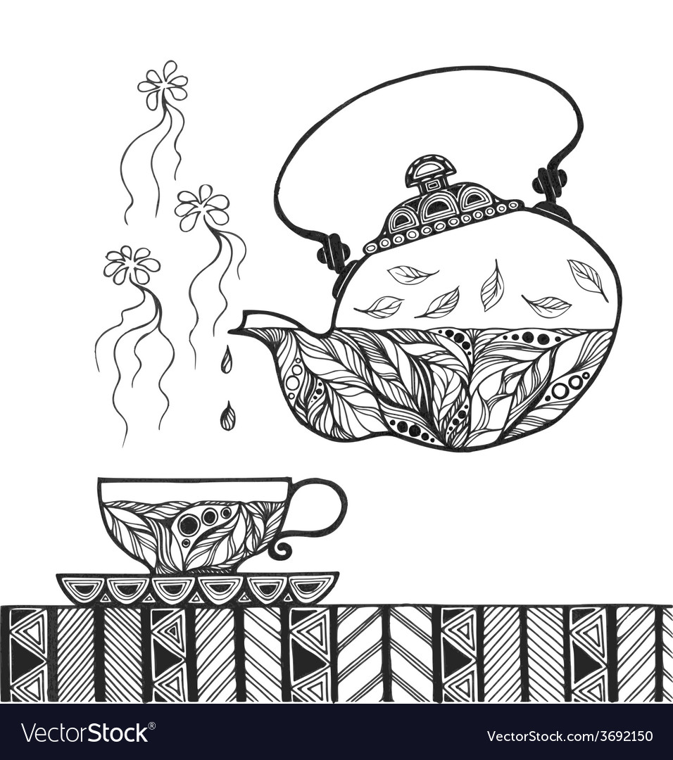 Teapot and cup with steam standing on table
