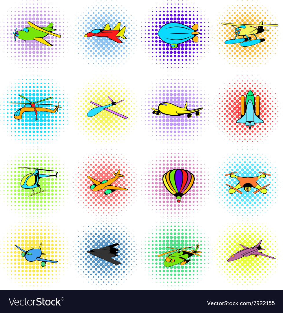 Aviation Icons Set comics style