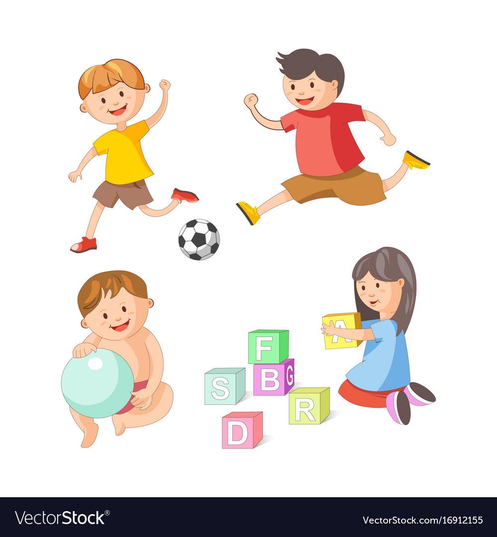 Children little boys girls playing toy games