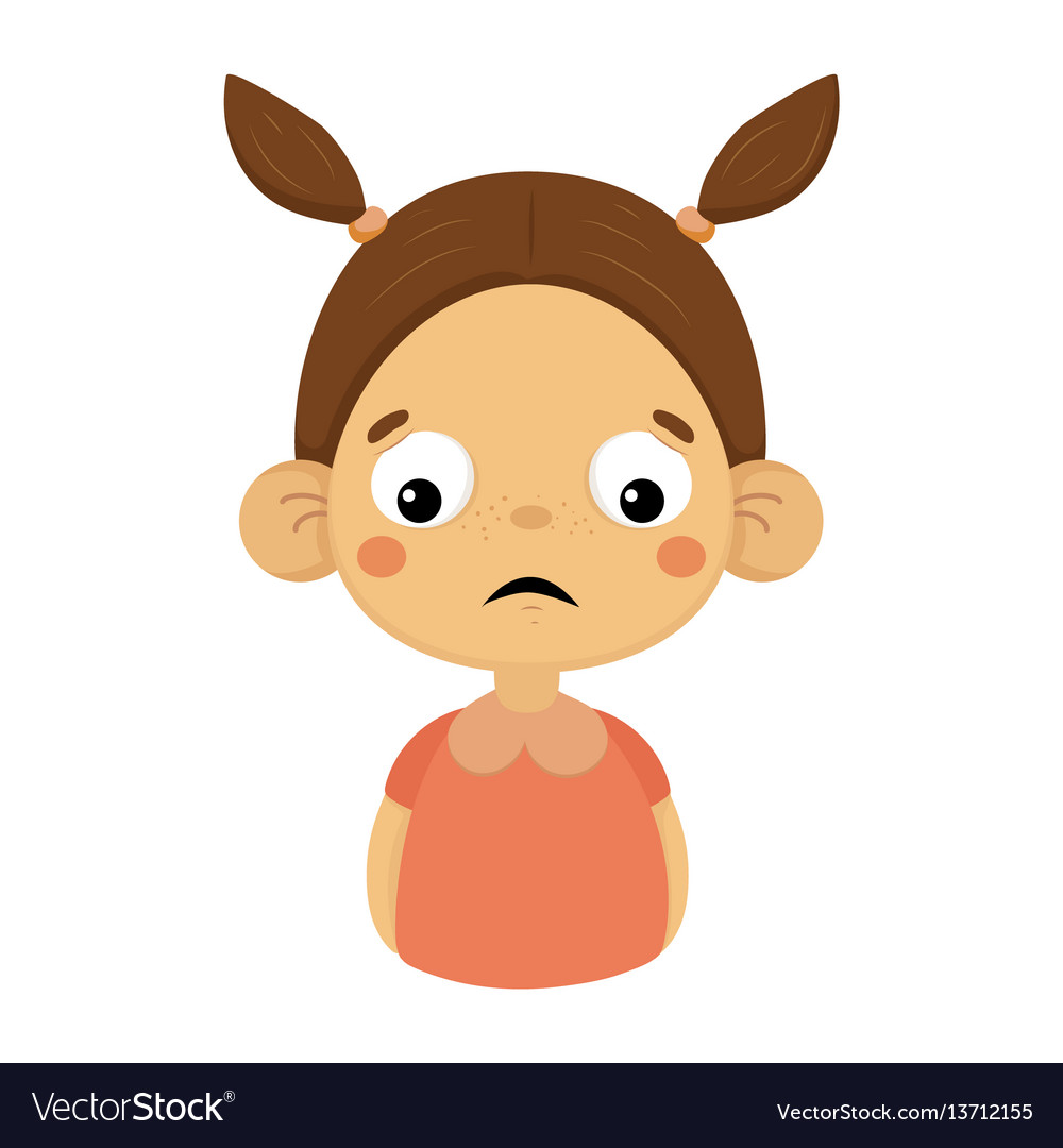 Disappointed little girl flat cartoon portrait