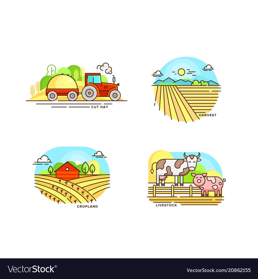 Farming logo collection in line design farm