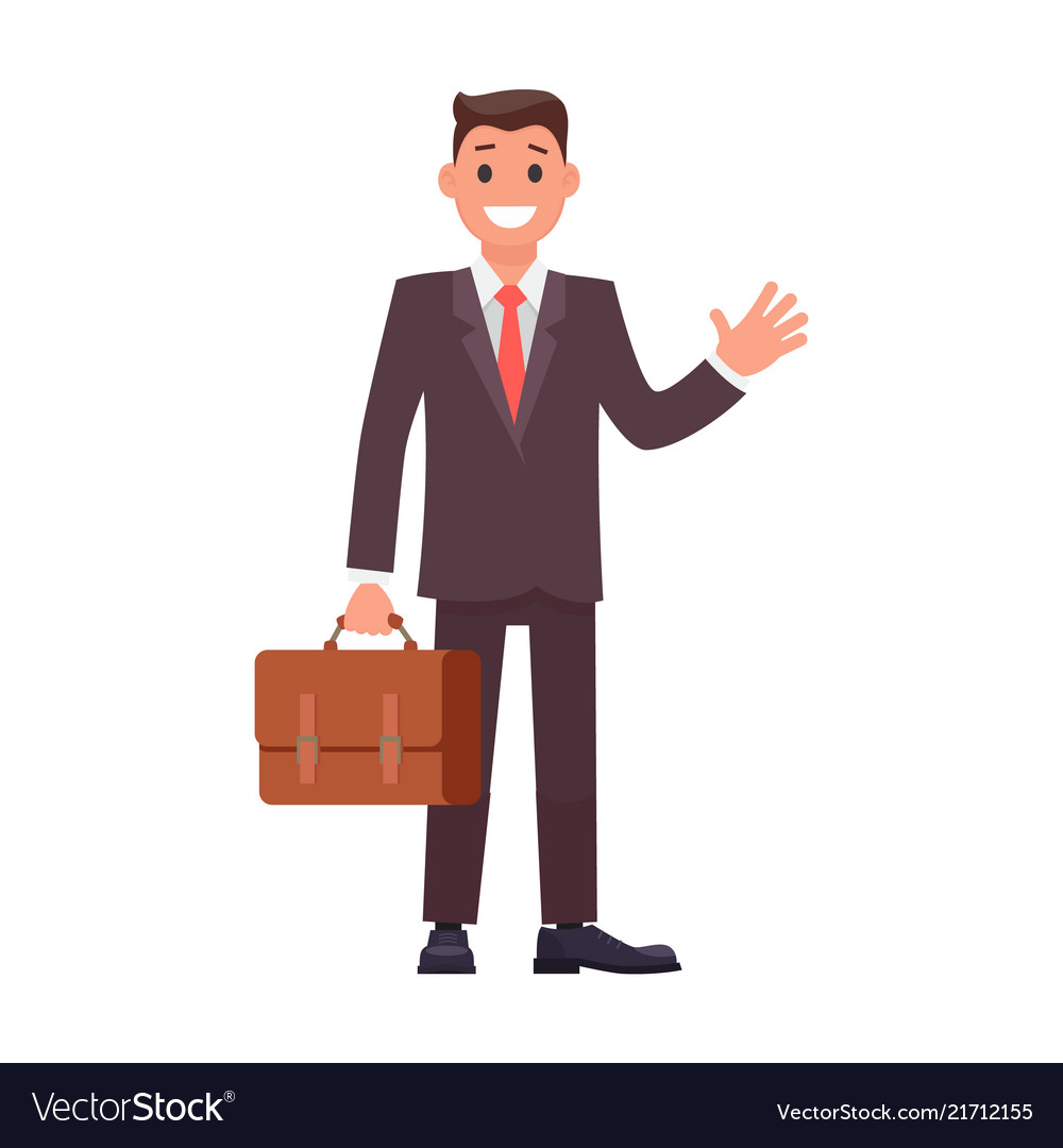 Flat design character businessman with briefcase