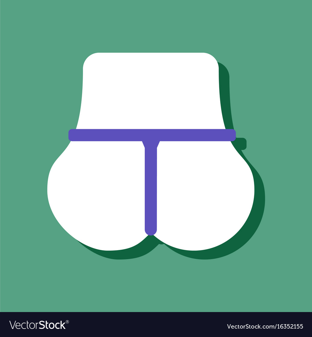 Flat icon design sexy female thong in sticker vector image