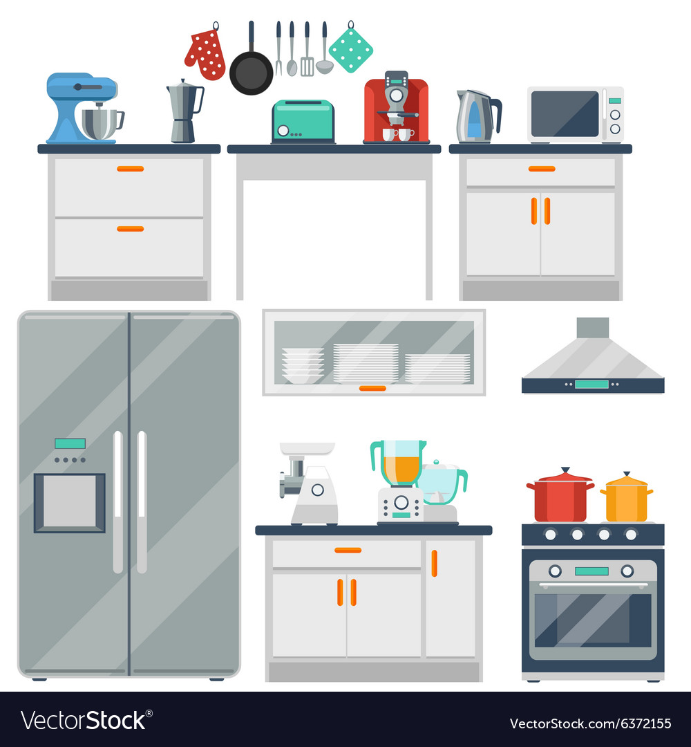 Kitchen Layout Design Tool Free: Flat Kitchen With Cooking Tools Equipment Vector Image