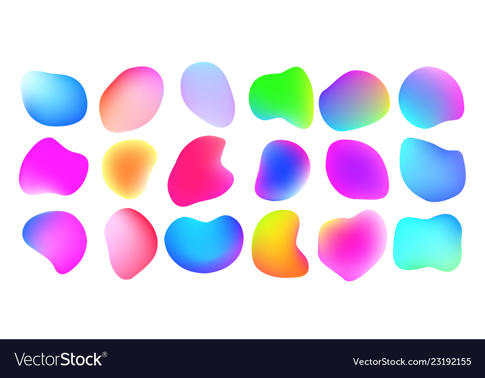 Gradient liquid color abstract fluid shapes color