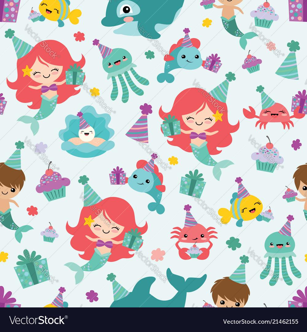 Mermaid birthday sea friends seamless