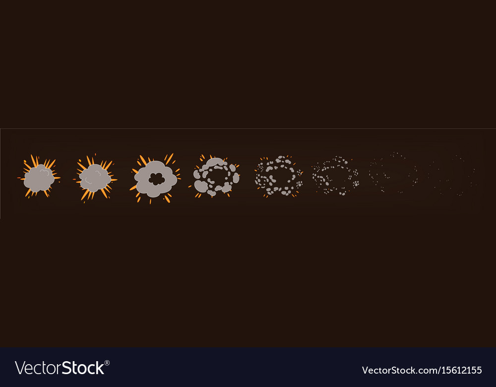 Phases of the explosion animationspecial effects vector image