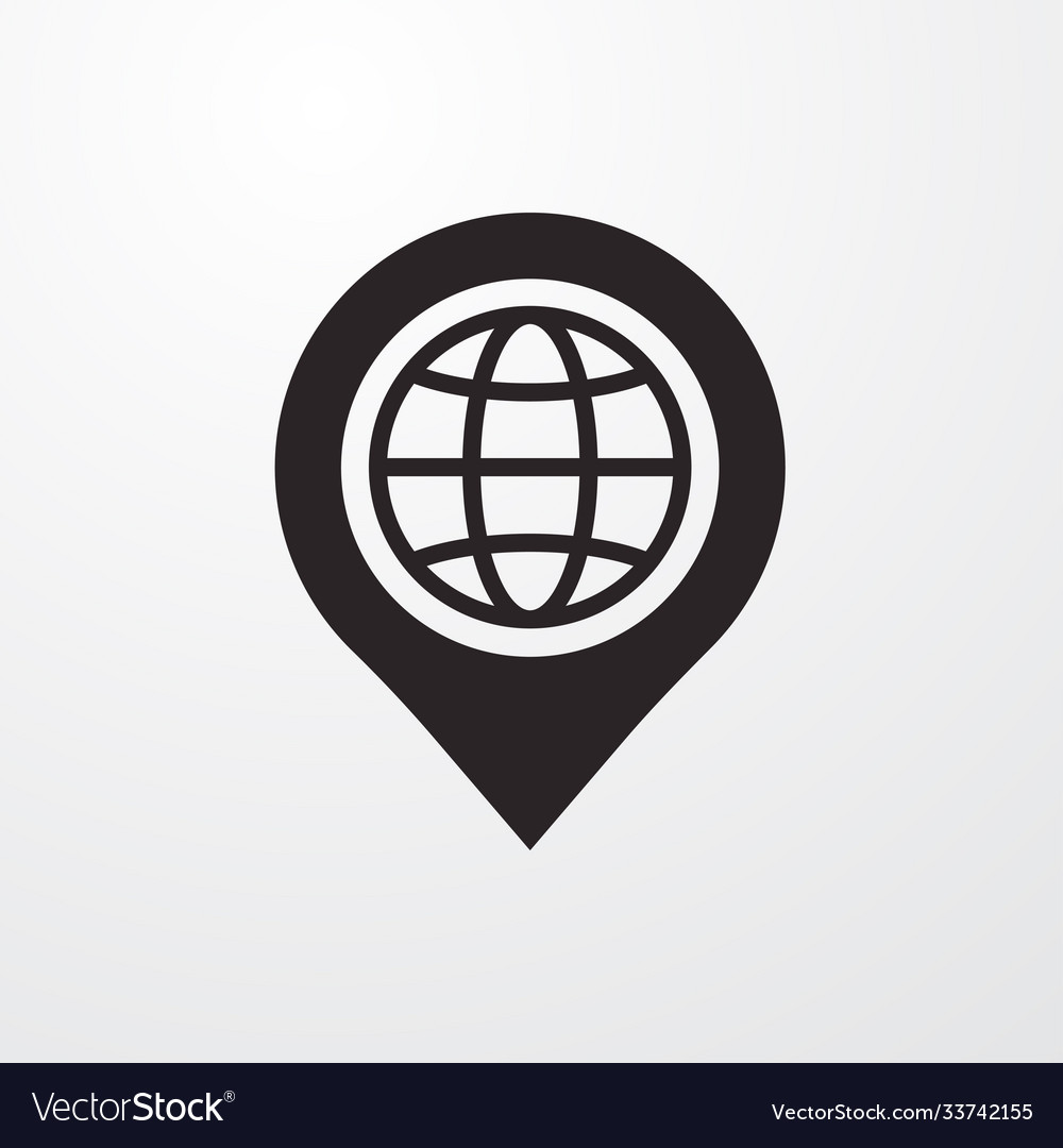 Pin with globe icon