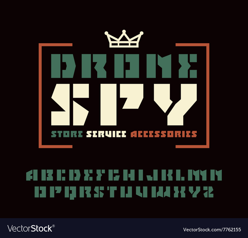 Sanserif stencil plate font and drone spy emblem vector image
