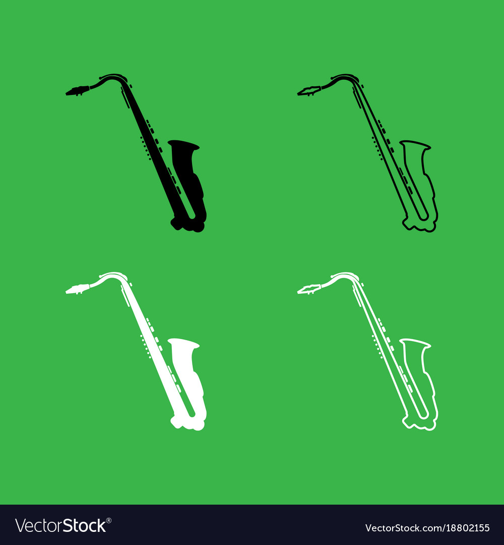 Saxophone icon black and white color set