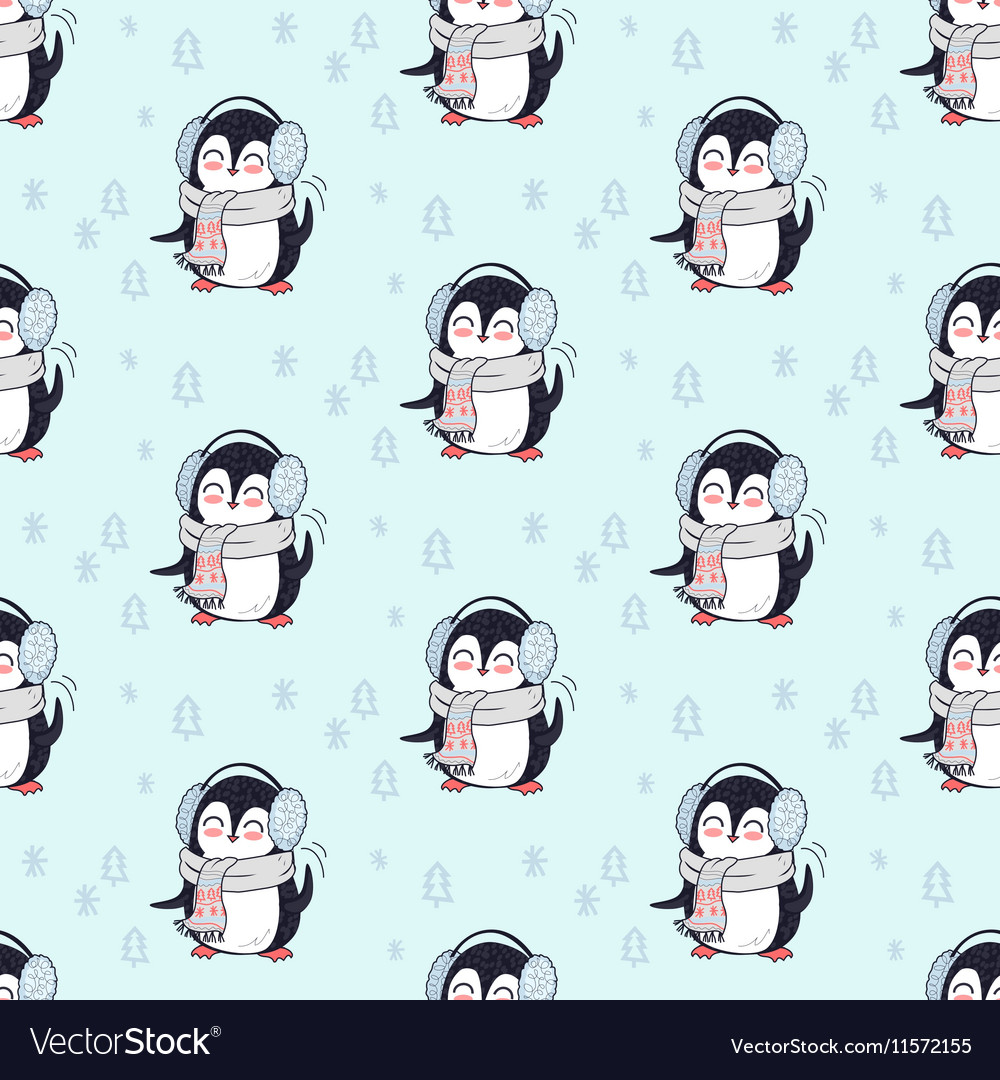 Seamless Pattern Penguin in Scarf and Headphones