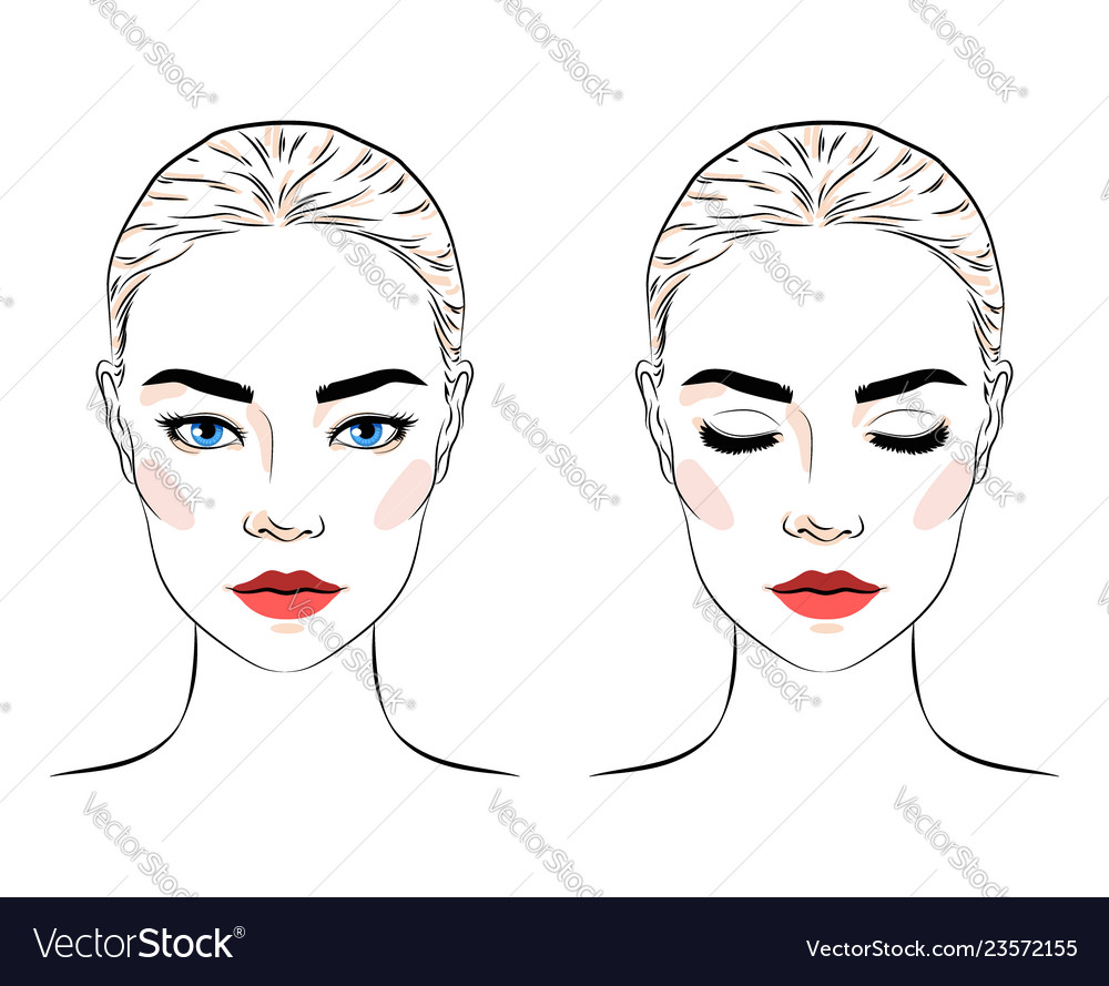 Set of beautiful woman with bun hairstyle and