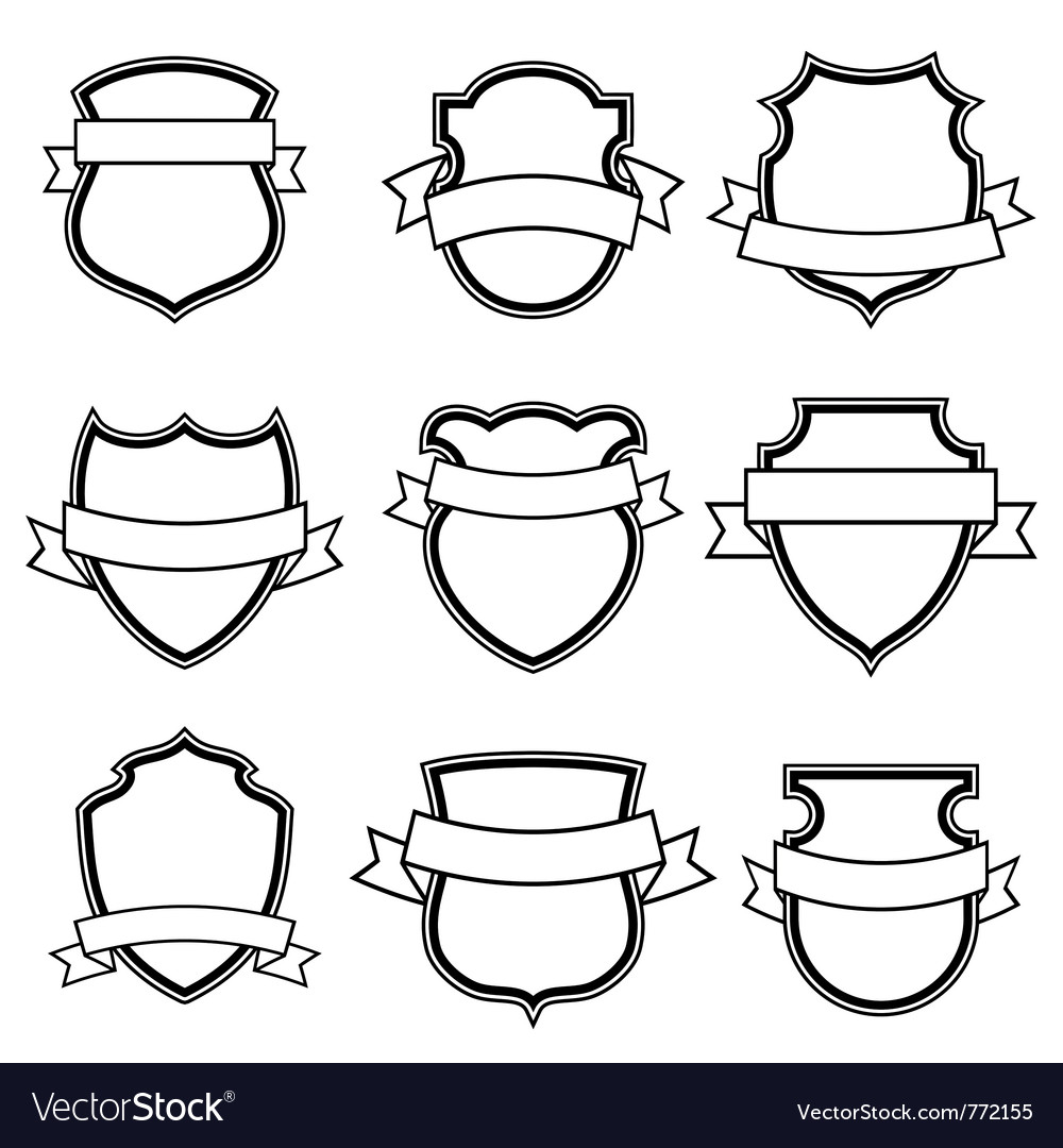 Shield with ribbon collection set vector