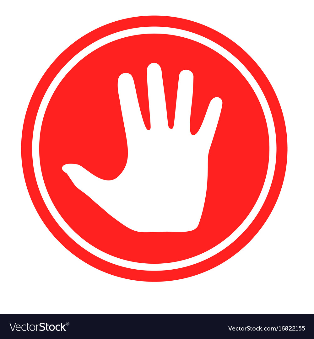 Stop sign with human hand