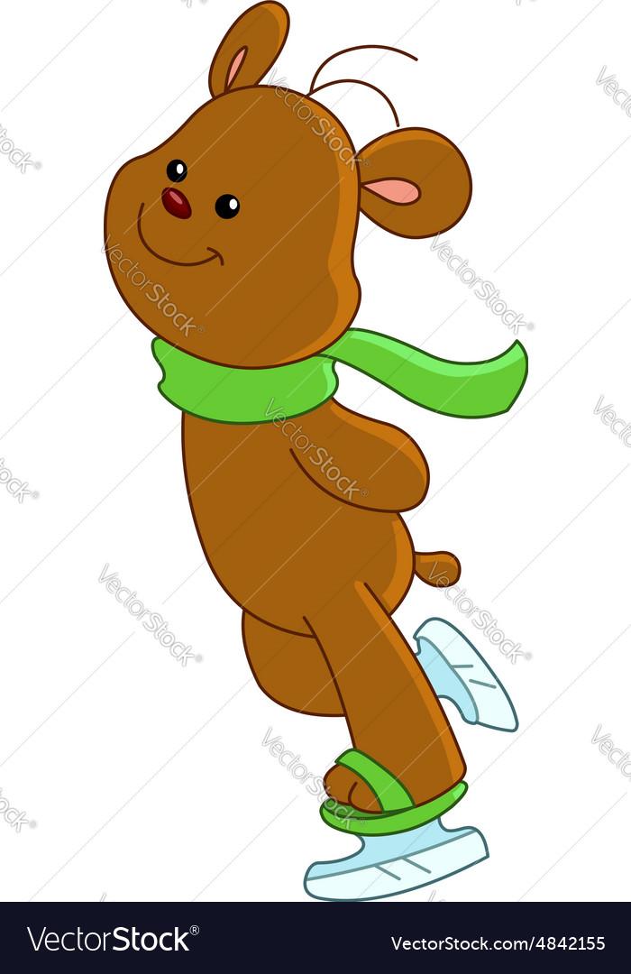 Teddy bear ice skating vector image