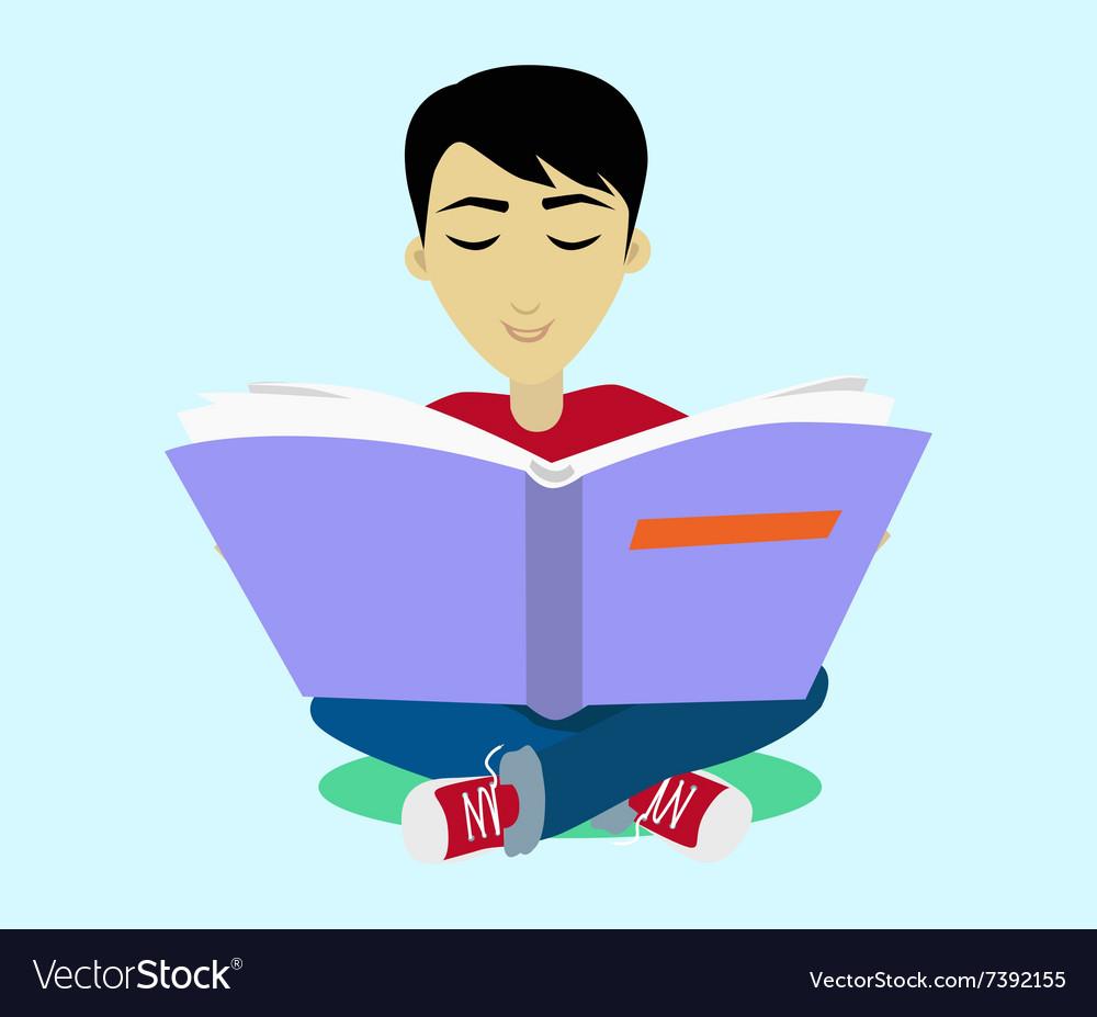Young Black Haired Man Enjoying Reading Big Book