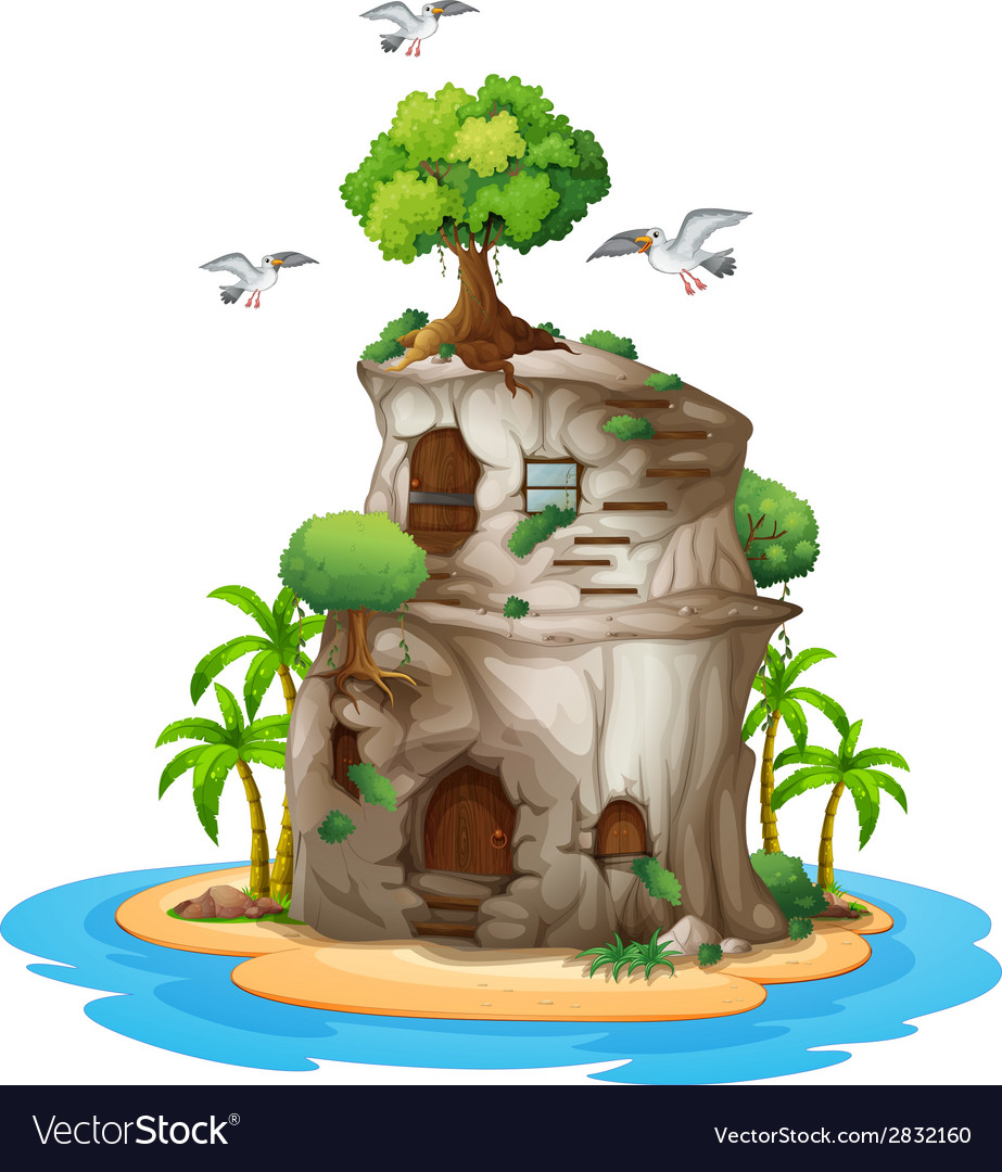 A big house made of rock vector image
