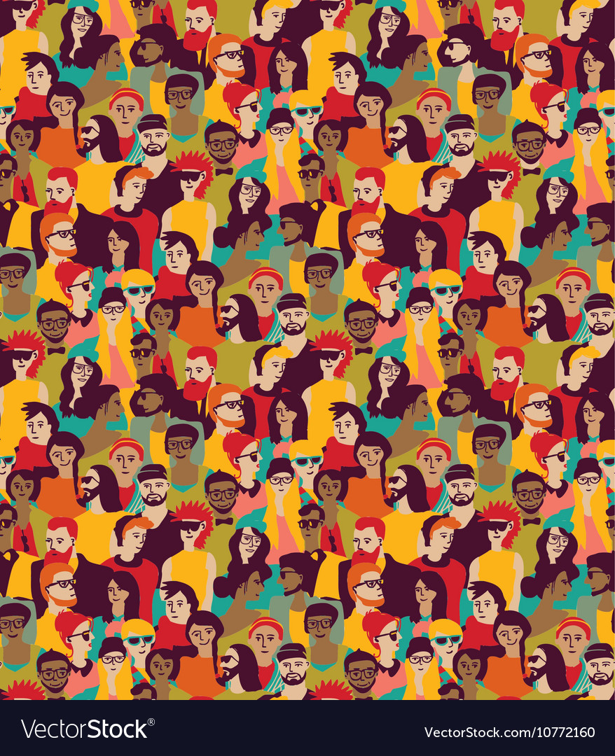 Big crowd happy people color seamless pattern