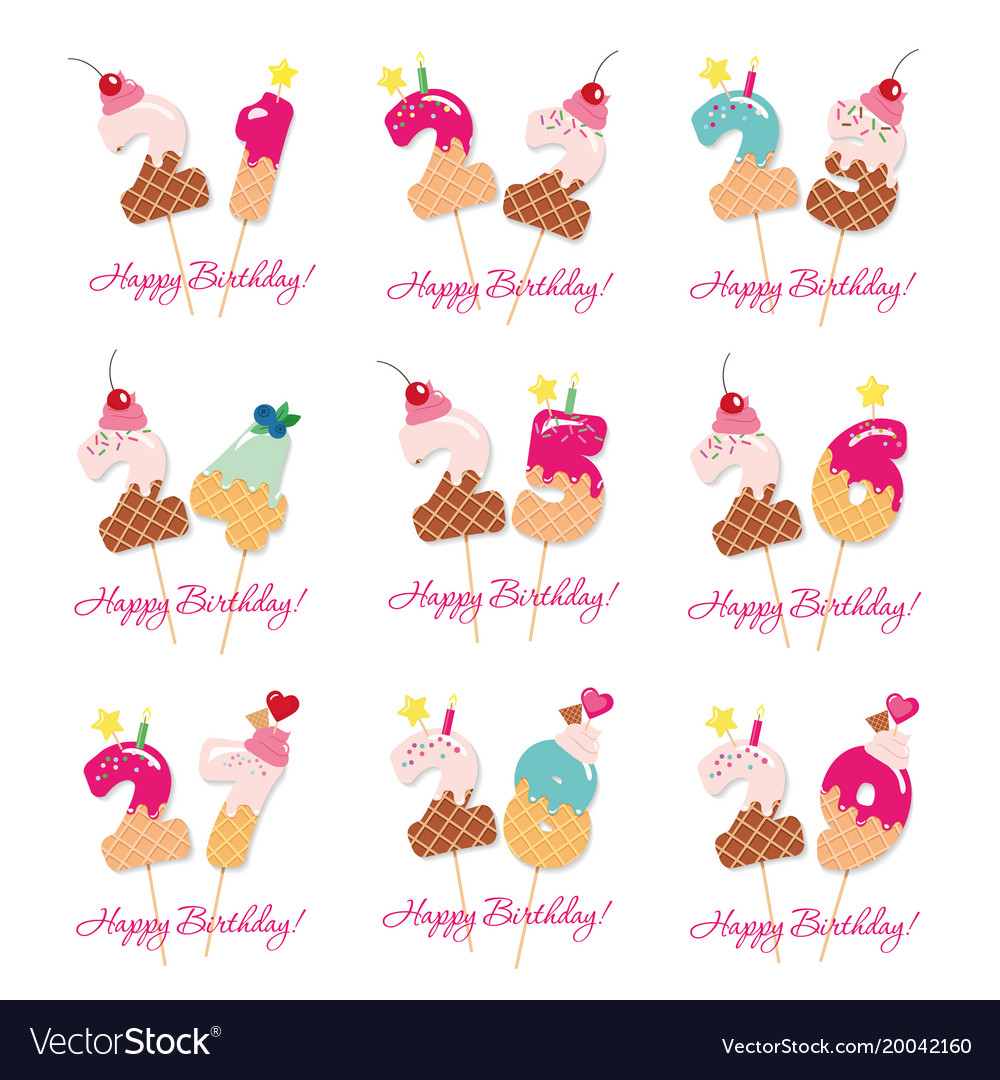 Birthday Cards Set Festive Sweet Numbers From 21 Vector Image