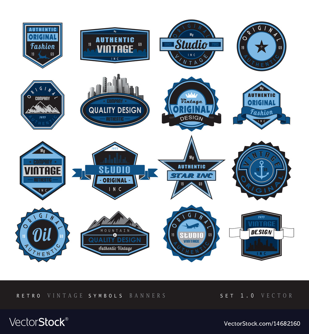 Blue vintage retro labels black and white isolated