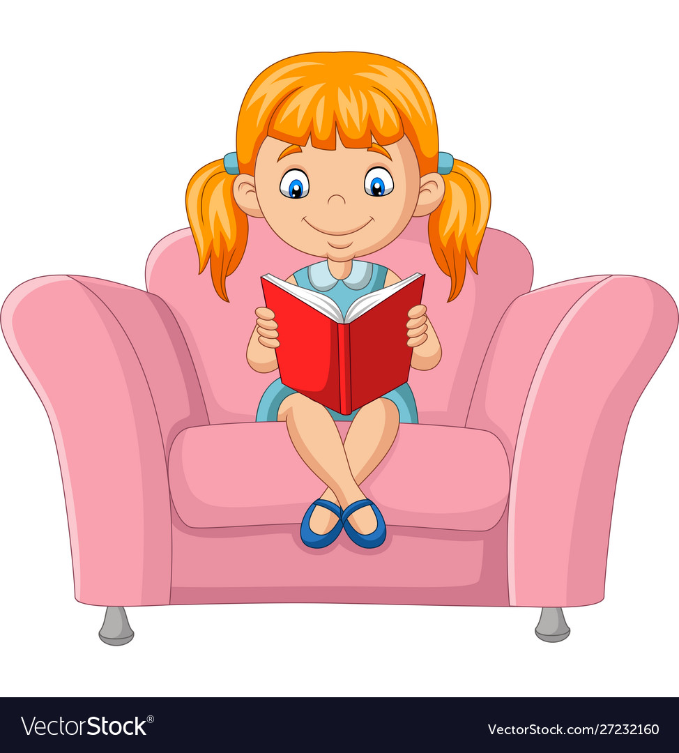 Tremendous Cartoon Little Girl Reading A Book Sitting On Sofa Bralicious Painted Fabric Chair Ideas Braliciousco