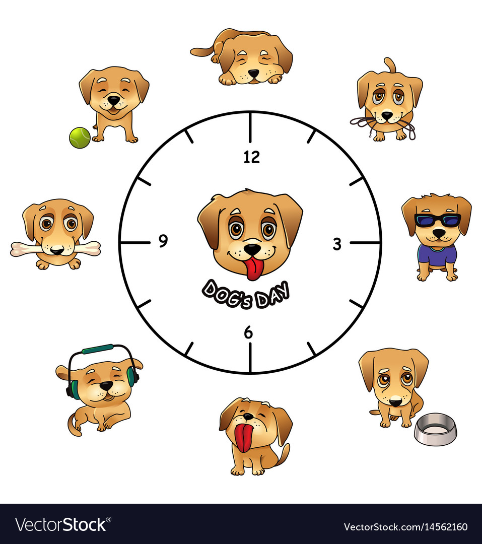 Dogs daily activities funny infographics vector image
